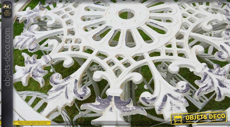 Salon de jardin rétro blanc crème antique fer forgé 4 personnes