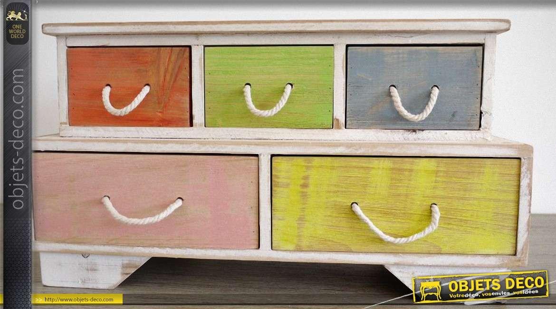Mini meuble de rangement style r tro 6 tiroirs multicolores for Meuble style retro