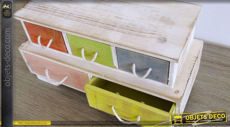 Mini-meuble de rangement style rétro à 6 tiroirs multicolores