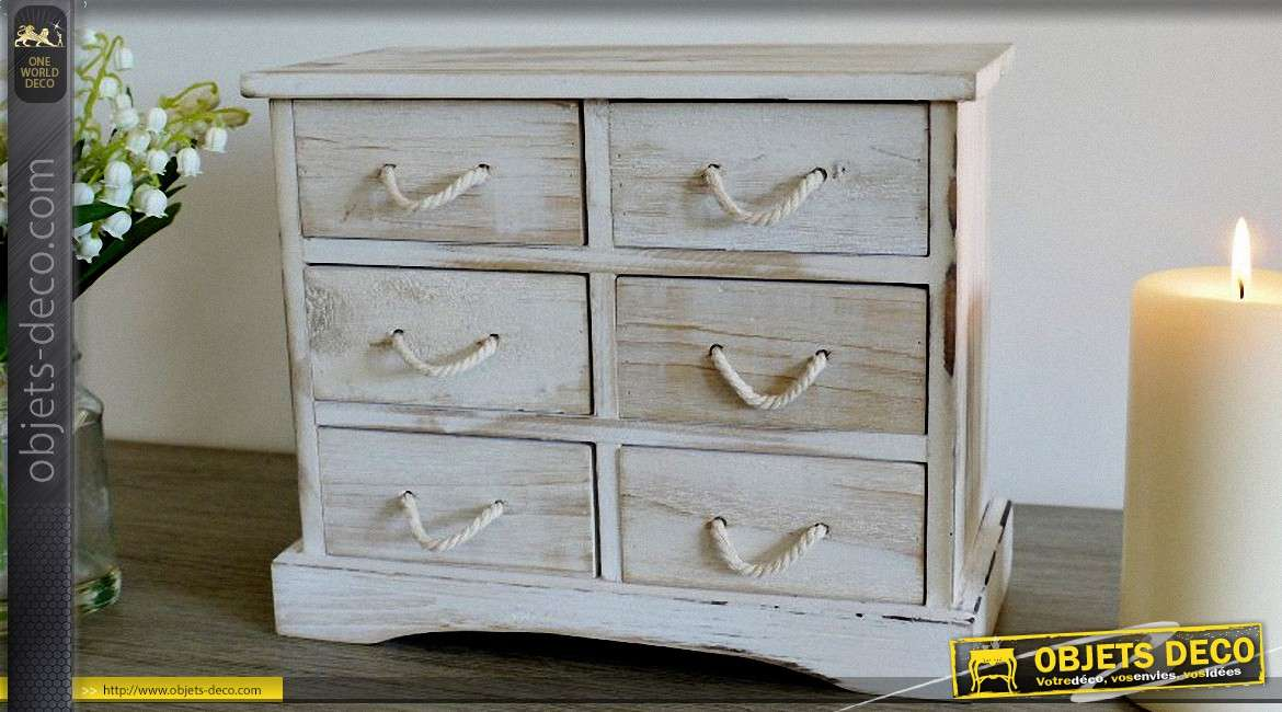 commode miniature six tiroirs en bois style r tro. Black Bedroom Furniture Sets. Home Design Ideas