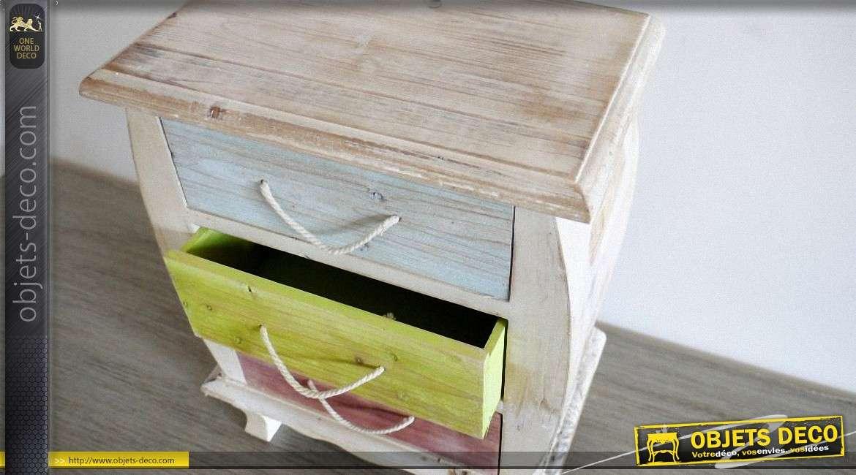 mini table de chevet en bois style rtro avec patine multicolore - Mini Table De Chevet