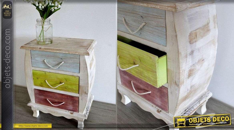 mini table de chevet en bois style r tro avec patine. Black Bedroom Furniture Sets. Home Design Ideas