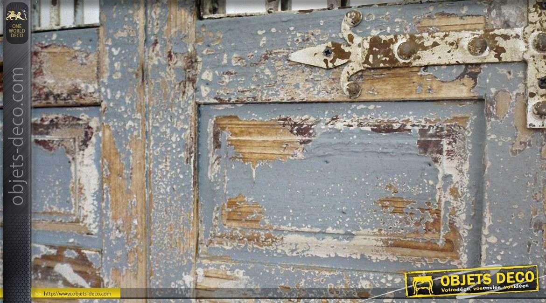 Grande porte miroir de style rustique en bois et fer forg - Miroir mural 180 cm ...
