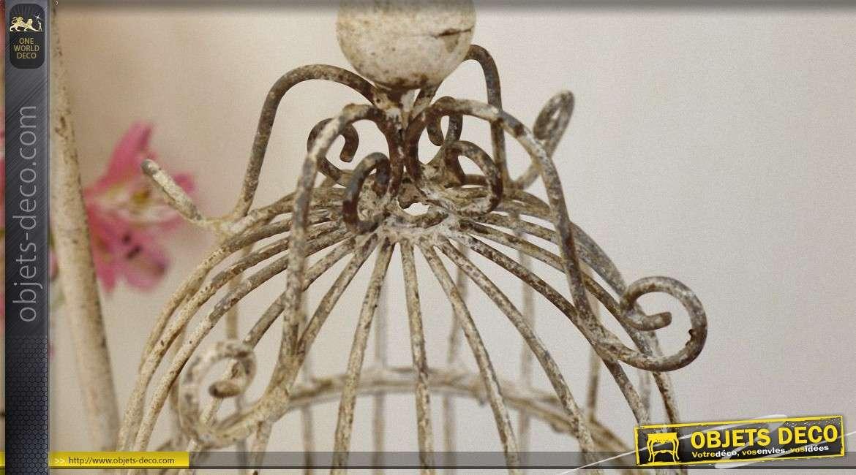 Cage à oiseaux suspendue porte bougie de style rétro 52 cm