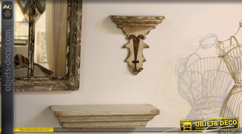 Sellette murale en bois et métal style déco brocante