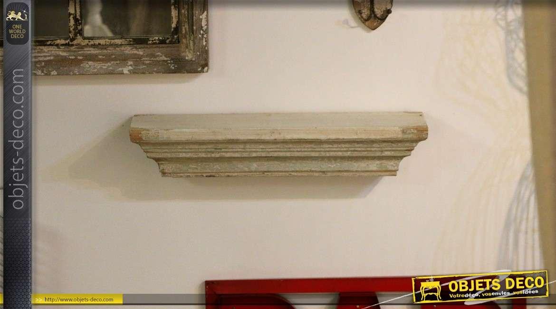 Etagère murale en bois de style déco brocante blanc antique 61 cm