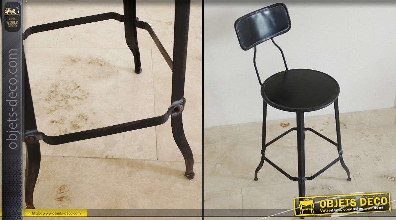 chaise de bureau de style r tro et industriel coloris noir. Black Bedroom Furniture Sets. Home Design Ideas