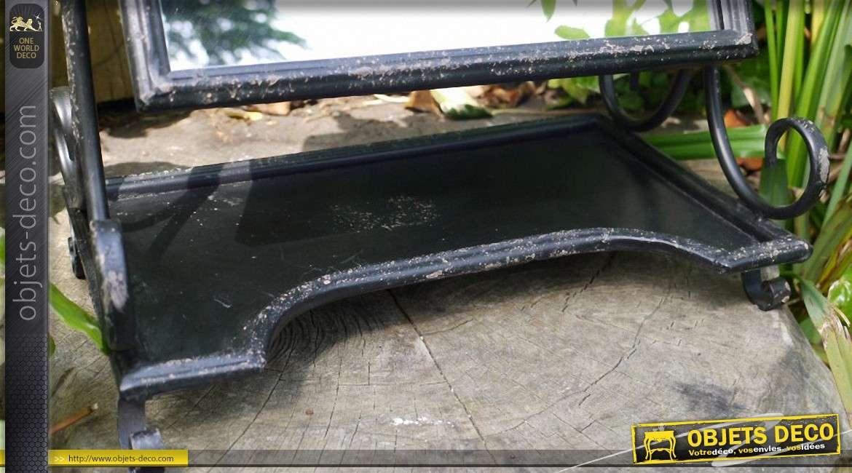 Miroir de coiffeuse pivotant de style rétro sur socle en métal