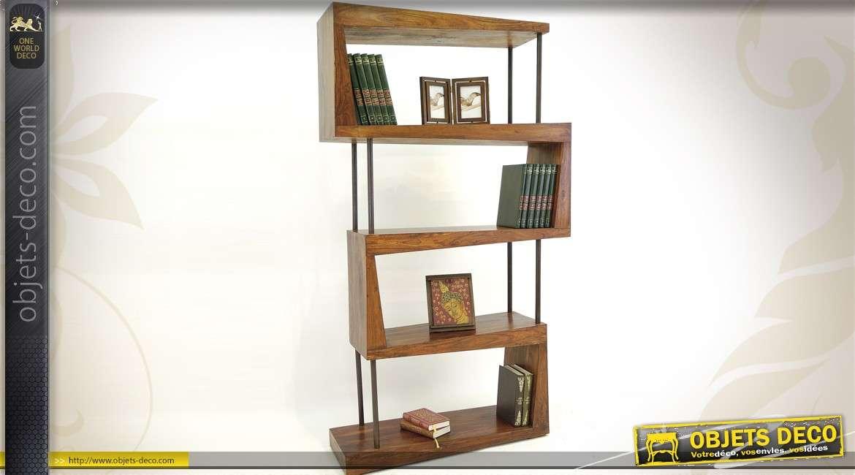 Bibliotheque Design Palissandre Et Metal Style Destructure