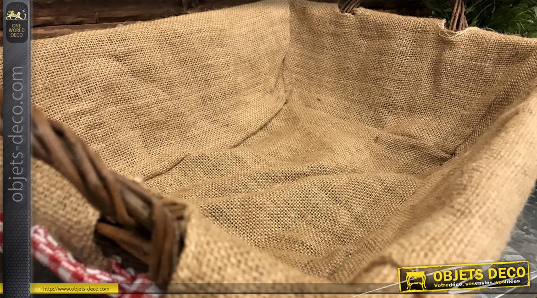 Manne en osier brut avec deux anses et intérieur en jute, cordon en coton motifs vichy rouge et blanc, 45cm
