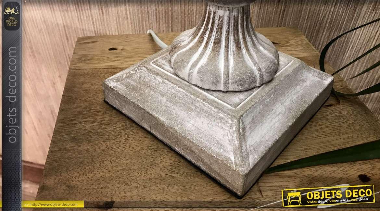 Lampe en bois sculpté abat-jour coton motif imprimé 55 cm