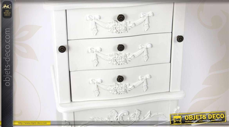 coiffeuse blanche style romantique avec miroir et tiroirs. Black Bedroom Furniture Sets. Home Design Ideas