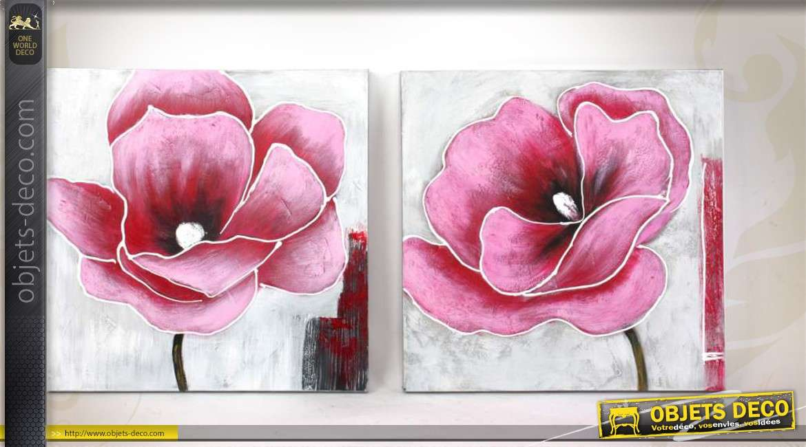 duo de tableaux 60 x 60 peints la main sur toile coquelicots. Black Bedroom Furniture Sets. Home Design Ideas