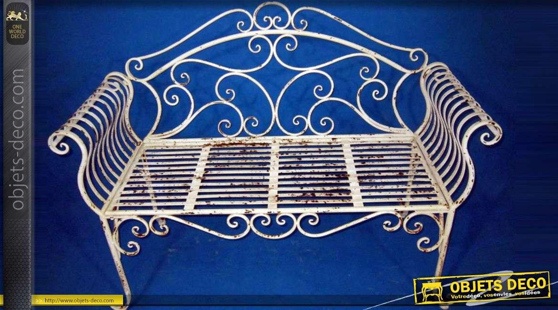 Banc en fer forg de style r tro avec patine cr me l 39 ancienne - Decoration de jardin en fer forge ...