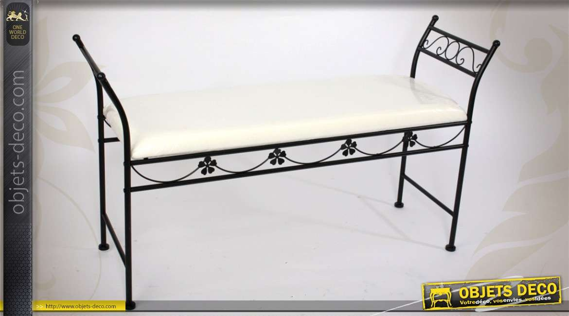 banc d 39 int rieur en fer forg et tissu coloris noir et blanc. Black Bedroom Furniture Sets. Home Design Ideas