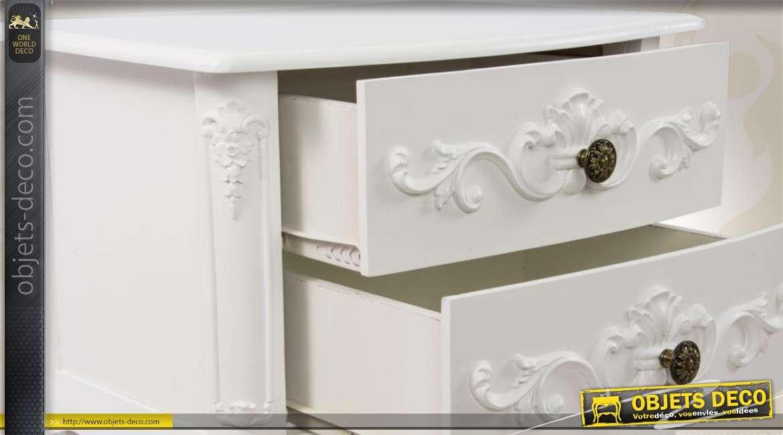 Table de chevet blanche en bois style romantique for Table de nuit romantique