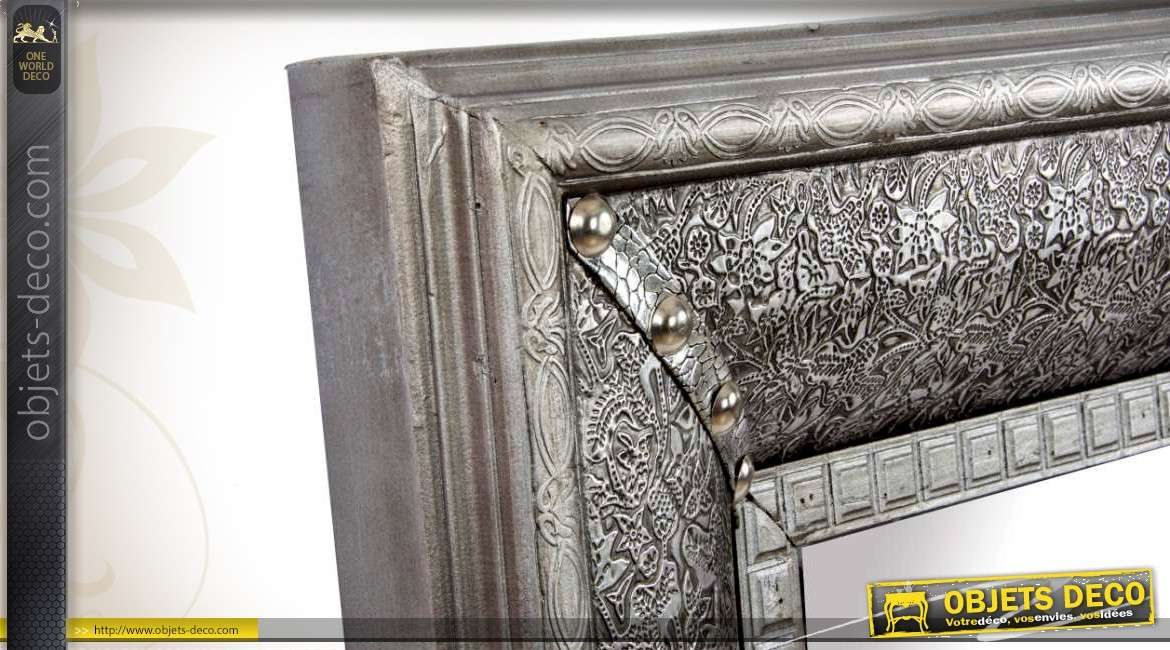 miroir oriental style marocain bois et m tal finition zinc ancien. Black Bedroom Furniture Sets. Home Design Ideas