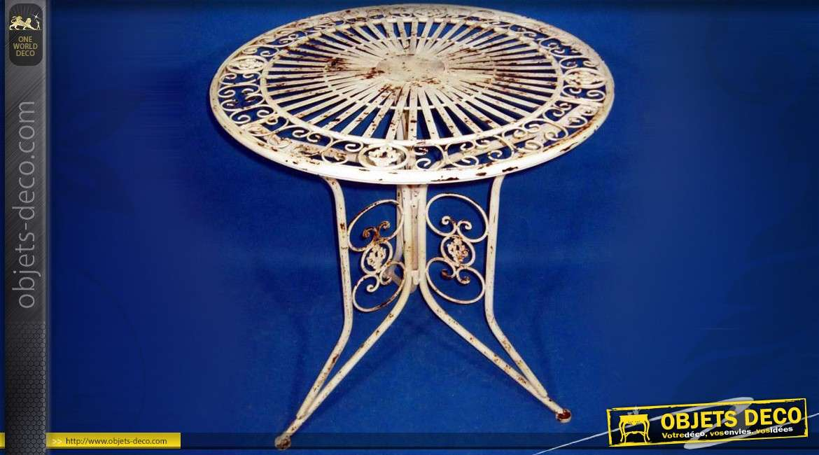 table de jardin ronde en fer forg cr me effets oxydation. Black Bedroom Furniture Sets. Home Design Ideas