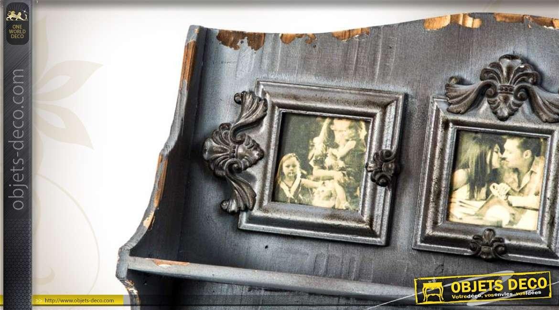 etag re murale de style r tro en bois gris avec porte manteaux. Black Bedroom Furniture Sets. Home Design Ideas