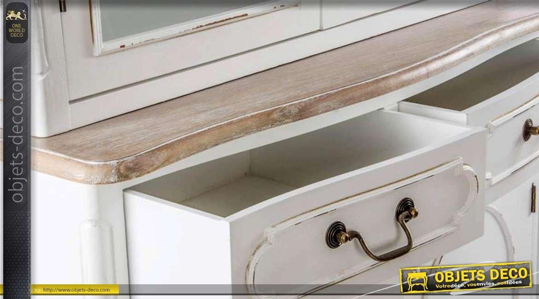 buffet vitrine de style r tro en deux corps patine blanc antique. Black Bedroom Furniture Sets. Home Design Ideas