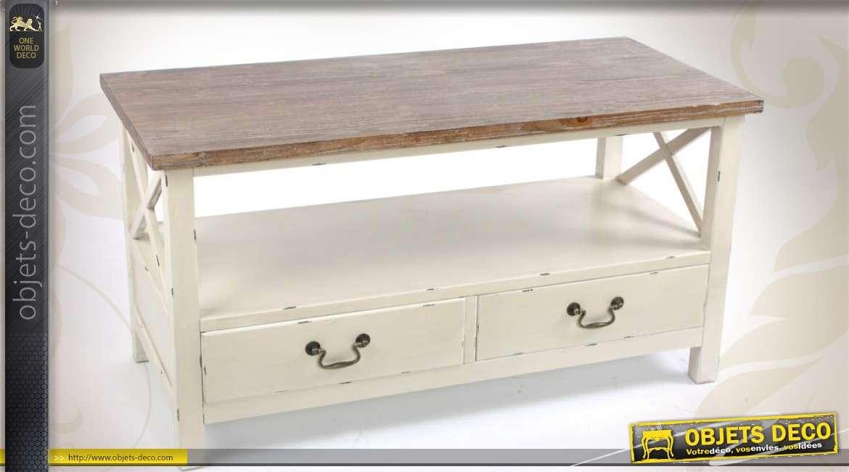 Table basse bicolore cr me et bois for Table bois bicolore