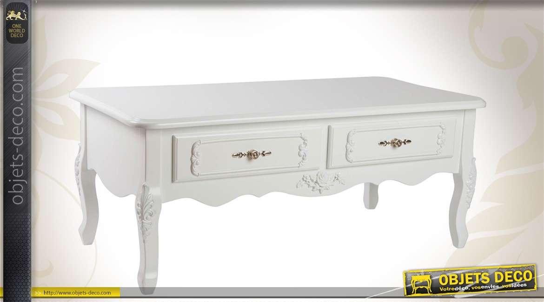 table basse de style romantique blanche. Black Bedroom Furniture Sets. Home Design Ideas