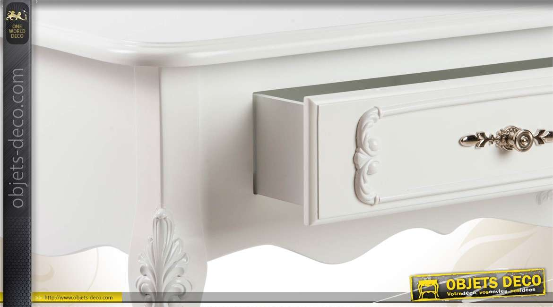 Table basse de style romantique blanche for Objet deco pour table basse