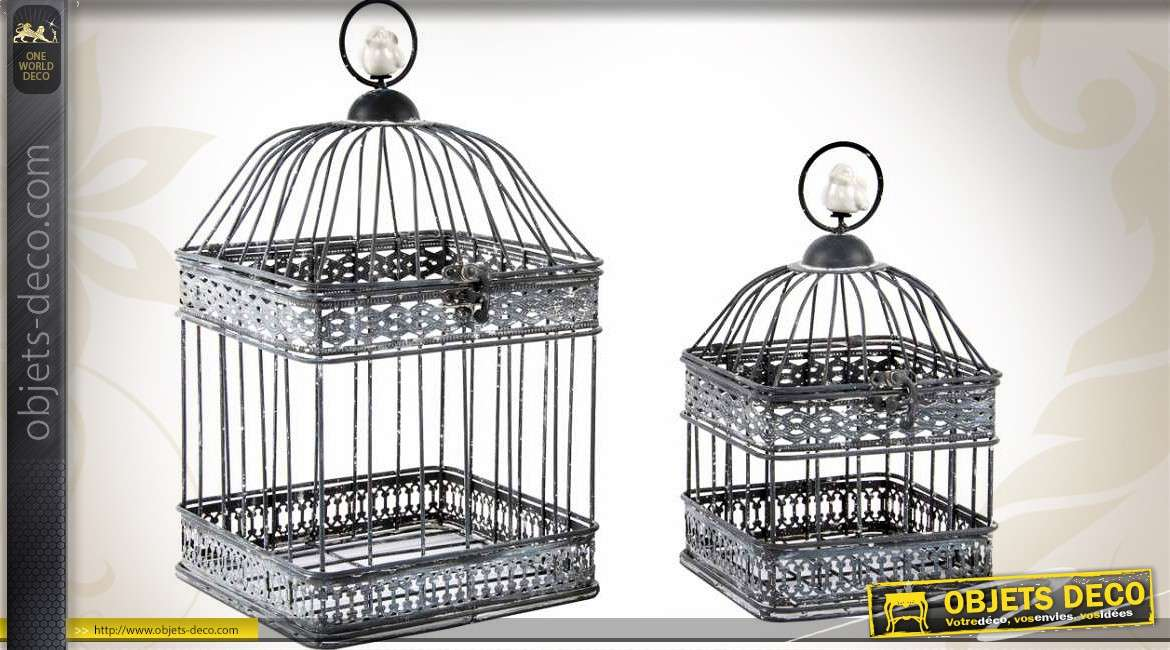 2 cages oiseaux carr es d co brocante finition zinc ancien. Black Bedroom Furniture Sets. Home Design Ideas
