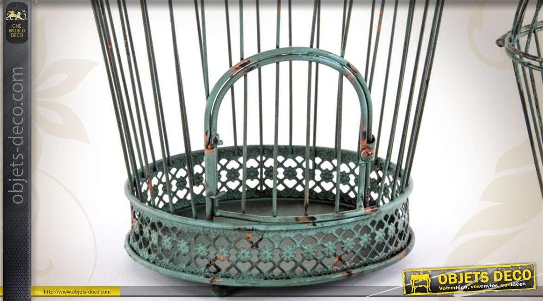 Paire de grandes cages oiseaux suspendre coloris vert for Cages a oiseaux decoratives
