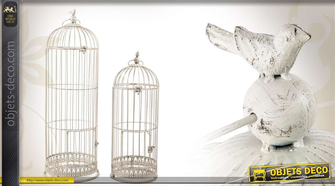 Grandes cages oiseaux de style r tro blanc antique 96 cm for Cages a oiseaux decoratives