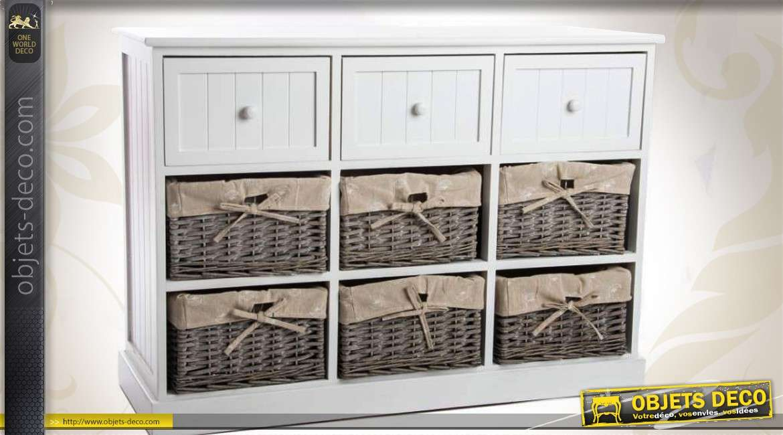 commode blanche 3 tiroirs et 6 paniers en osier brut doublure. Black Bedroom Furniture Sets. Home Design Ideas