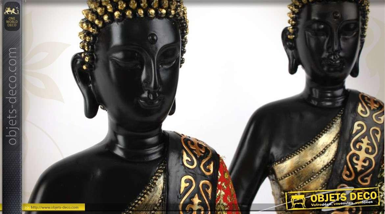 2 statuettes de bouddhas assorties noir et or et rouge et or for Objet deco rouge et noir