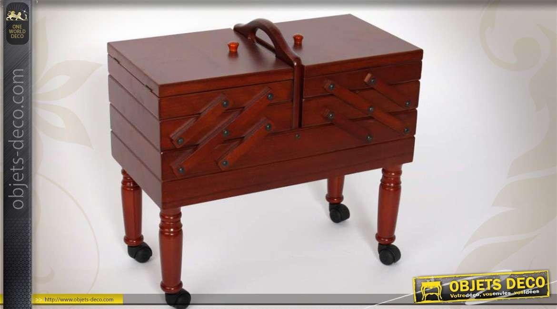 travailleuse sur pieds style r tro bo tes couture 3 niveaux. Black Bedroom Furniture Sets. Home Design Ideas