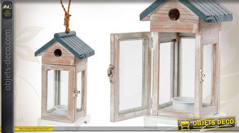 lanterne en bois et verre motif nichoir oiseaux. Black Bedroom Furniture Sets. Home Design Ideas