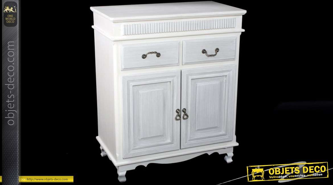 buffet bas 2 tiroirs et 2 portes style ancien blanc antique. Black Bedroom Furniture Sets. Home Design Ideas
