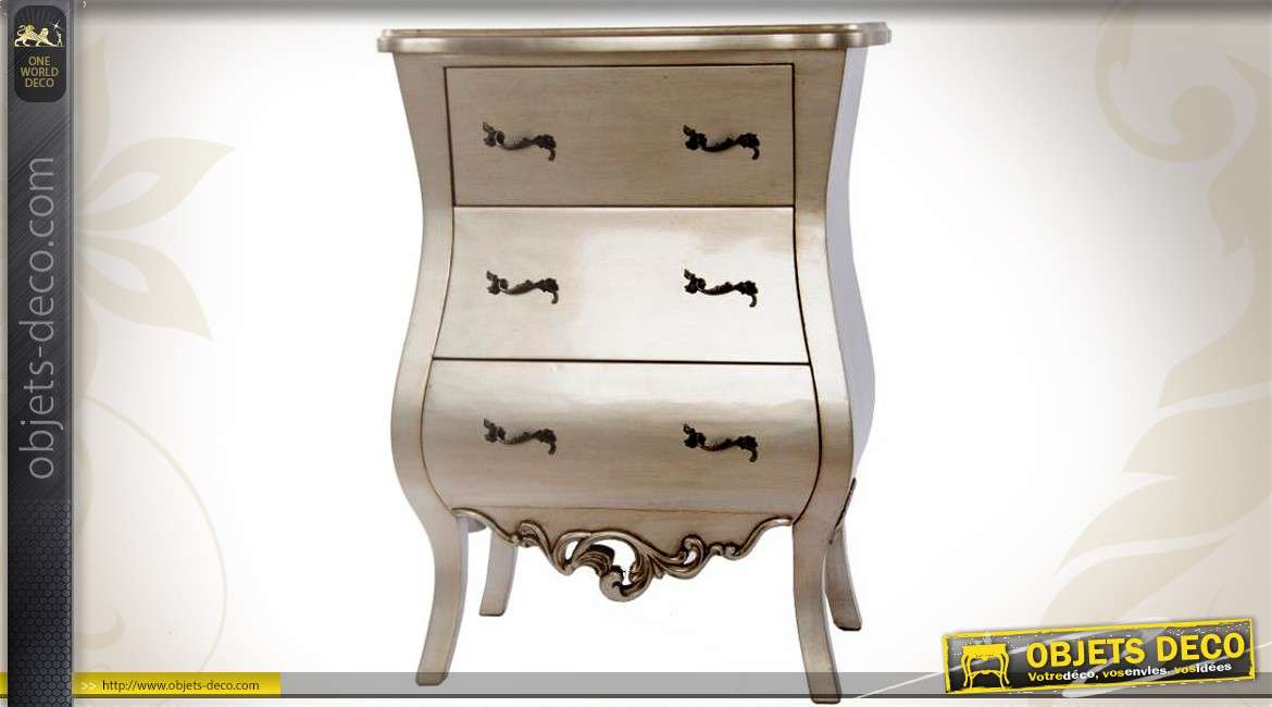 commode en bois trois tiroirs style baroque patine vieil argent. Black Bedroom Furniture Sets. Home Design Ideas