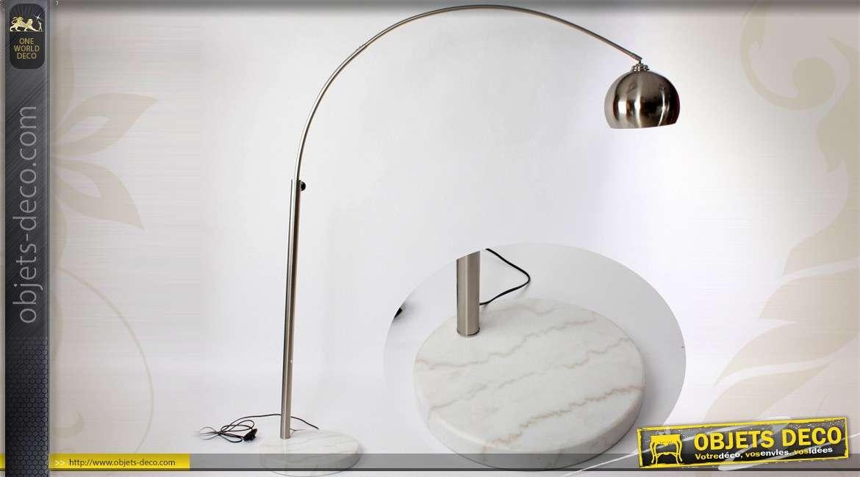 lampadaire arqu de style industriel finition argent e 195 cm. Black Bedroom Furniture Sets. Home Design Ideas