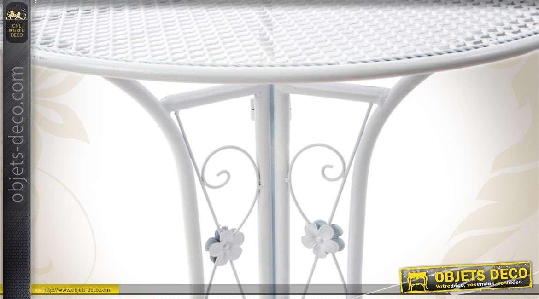 Table de jardin blanche en métal finition fer forgé Ø 70 cm