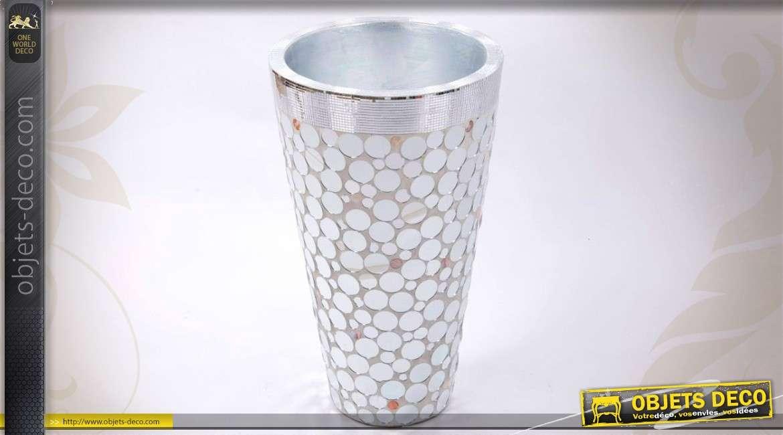 vase en fibre de verre avec habillage de miroirs ronds 66 cm