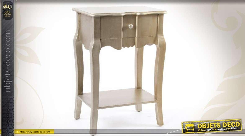 table de chevet r tro coloris platine finition l 39 ancienne. Black Bedroom Furniture Sets. Home Design Ideas
