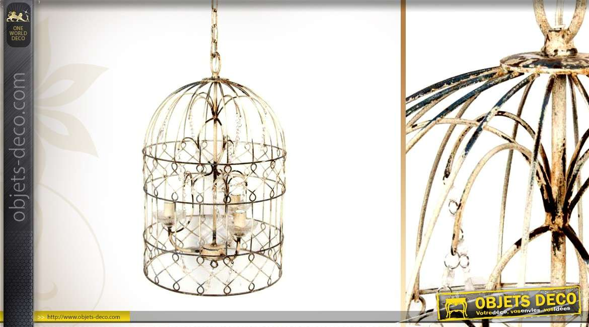 lustre en forme de cage oiseaux effet veilli trois feux. Black Bedroom Furniture Sets. Home Design Ideas