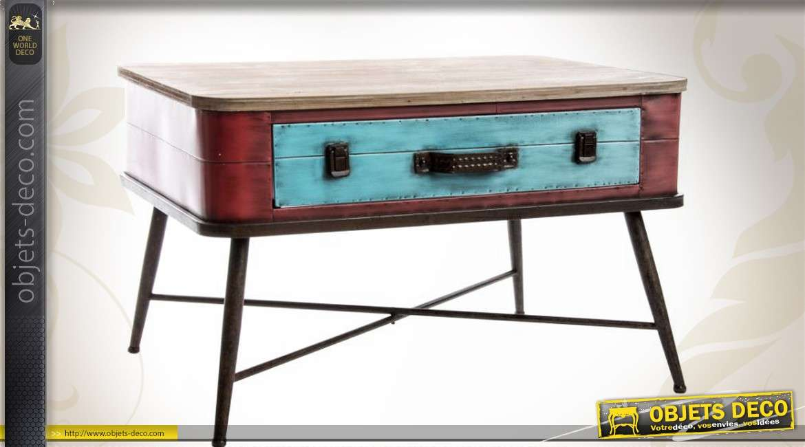 Table basse style indus et r tro en forme de valise ancienne for Deco fr table basse