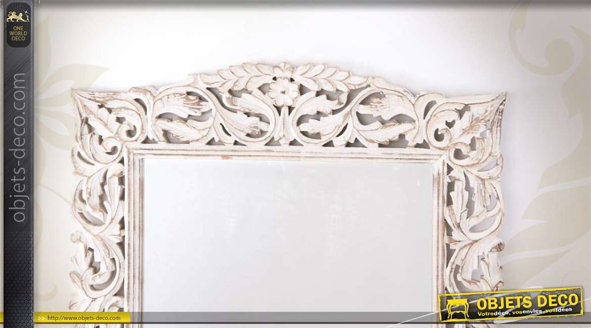 grand miroir bois ajour blanc antique motifs de feuillages. Black Bedroom Furniture Sets. Home Design Ideas