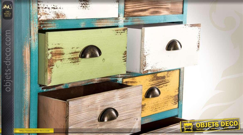 Chiffonnier 12 tiroirs de style industriel et multicolore for Chiffonnier style industriel