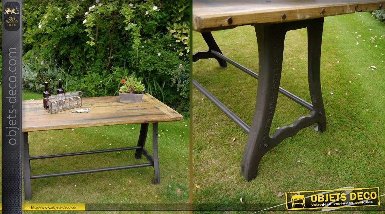 table style industriel bois massif pi tement acier et fer forg. Black Bedroom Furniture Sets. Home Design Ideas
