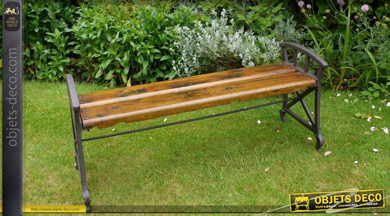 banc de jardin en bois massif et acier noir finition antique. Black Bedroom Furniture Sets. Home Design Ideas