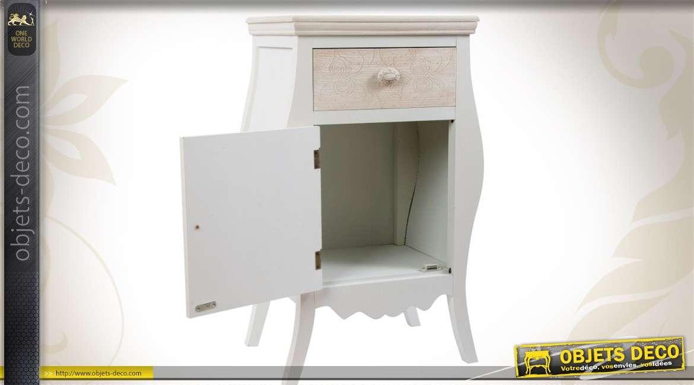 table de chevet de style shabby chic forme bomb e patine bicolore. Black Bedroom Furniture Sets. Home Design Ideas