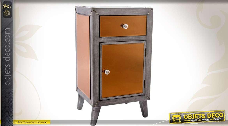 Table de nuit style industriel finition miroir teinte cuivr e - Table de nuit industrielle ...