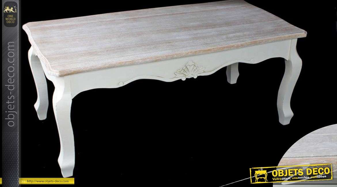 table basse de style patine blanc antique et plateau effet chaul. Black Bedroom Furniture Sets. Home Design Ideas