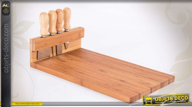 planche d couper en bambou avec 4 ustensiles. Black Bedroom Furniture Sets. Home Design Ideas